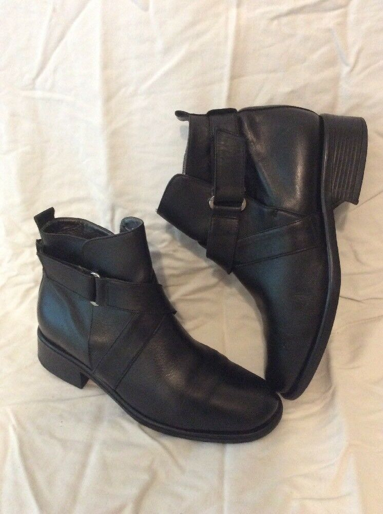Ladies Black Ankle Leather Boots Size 4.5Uk