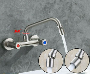 Details about Kitchen Sink Faucet Swivel Spray Nozzle Tap Wall Mount  Brushed Nickel 2 Handles