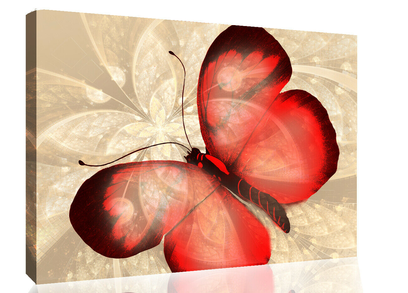 Abstract Canvas Print Butterfly rot & Cream Unique Wall Art Print Various Größes