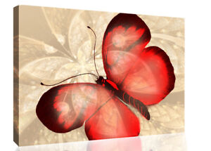 Abstract Canvas Print Butterfly Red /& Cream Unique Wall Art Print Various Sizes