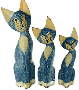 Set of 3 Wood Cat Hand Carved Paint Bali Home Décor Sculpture ...