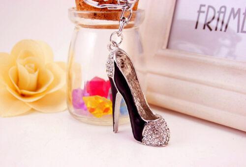 Negro Rojo Alta Zapato De Tacón Alto en forma de diamante Rhinestone encantos del bolso Bolso De Mano Llavero