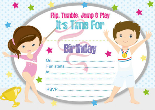 10 x Gymnastics Children Birthday Party Invitations or Thank you cards
