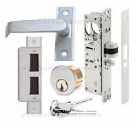 Adams Rite Type Storefront Door Dead Latch W/ Euro Lever Handle & Lock Cylinder
