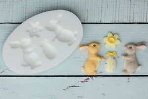 Silicone-Mould-Easter-Bunny-Bunnies-Rabbit-Daffodil-Ellam-Sugarcraft-M0175