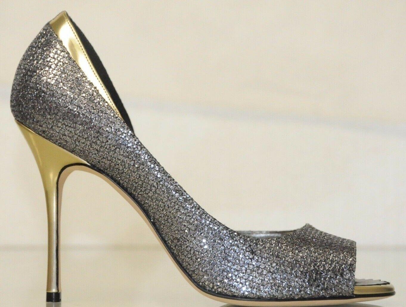 alto sconto Nuovo Manolo Blahnik Blahnik Blahnik Alim 105 Antracite argentoo con Glitter oro  gli ultimi modelli