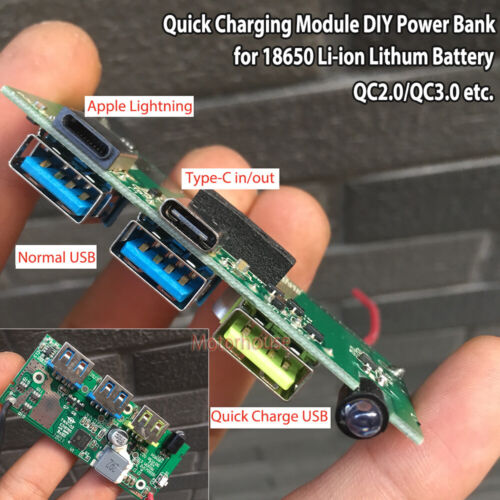 QC3.0 Type USB-C Lithium Li-ion 18650 Battery Fast Quick Charging Charger Module