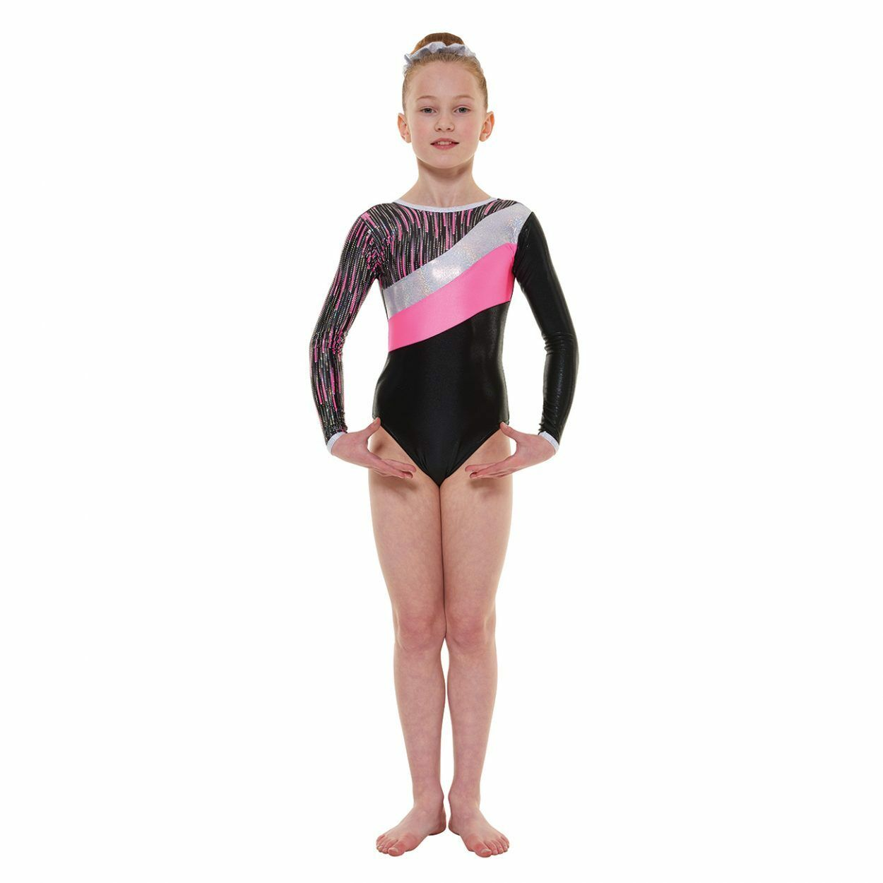 LONG SLEEVED GYMNASTICS LEOTARD FOILED NYLON LYCRA & SHINE (GYM44)