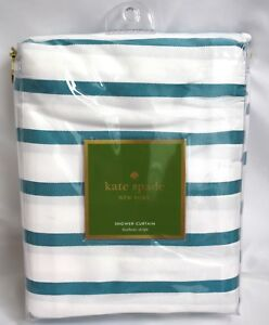 Image Is Loading Kate Spade Shower Curtain Green Teal White Striped