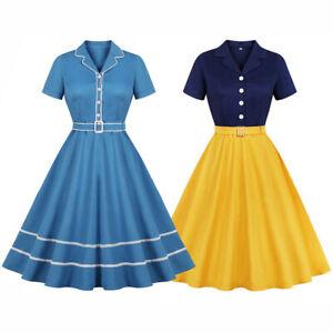 Retro-50s-Swing-V-neck-Rockabilly-Plus-Size-Party-Cocktail-Vintage-Pinup-Dress