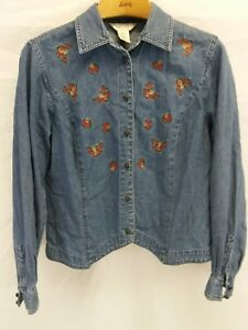 Vintage-Women-039-s-Van-Heusen-Embroidered-Denim-L-S-Shirt-Top-Size-M