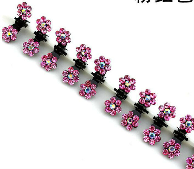 Lots Girls Sweet Crystal Rhinestone Flower Mini Hair Claws Clips Pin Clamps 6pcs