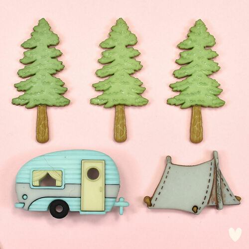 Dress it up Buttons Hittin/' The Trail 10420 Camping Caravan Trees Tent