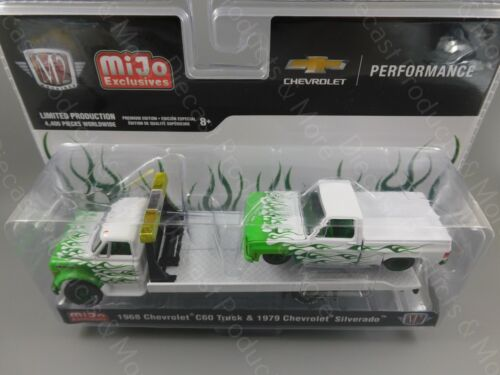 M2 Machines 1968 Chevy C60 /& 1979 Chevy Silverado Green Flame Truck 1:64 Scale