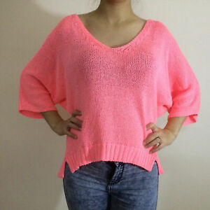 Zara-Fluoro-Neon-Orange-Knitted-3-4-Sleeve-Jumper-Top-Bloggers-Fave-Size-M-10-12