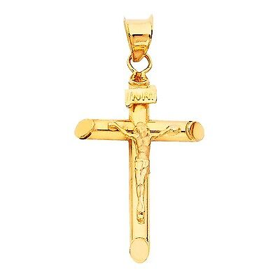 14k Real Solid Yellow Gold Cross Jesus Crucifix Religious Charm Pendant Large