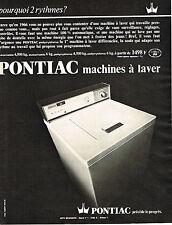 PUBLICITE ADVERTISING 114  1966  PONTIAC  machine à laver lave linge