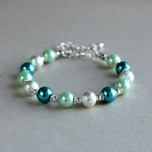 Silver stardust mint green teal pearls beaded wedding bridesmaid bridal bracelet