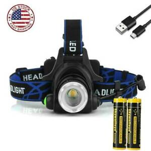 350000LM Zoomable  USB Rechargeable Led Headlamp Headlight Flashlights Torch