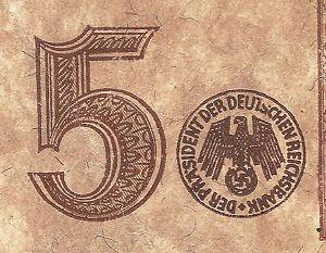 WW2-ORIGINAL-NAZI-Germany-Third-Reichs-Banknote-5-Reichsmark-1942-G
