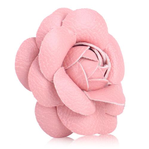 Vintage encanto colorido Camelia Pin broche flor de cuero PU Pin Broche