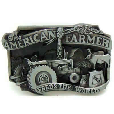 American Farmer Country Steel Metal Belt Buckle Vintage Mens Boys Jewelry Gift