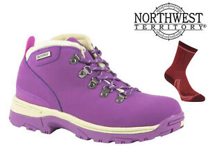 Womens-Waterproof-Hiking-Boots-NorthWest-Territory-Leather-Walking-Trek-Purple