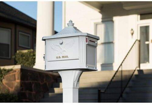Callaway Adjustable Mailbox Post White Corrosion Resistant Aluminum Timeless