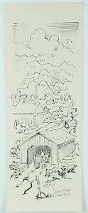 Vintage Original Covered Bridge Connecticut Ink Pen Drawing Town Travel Art