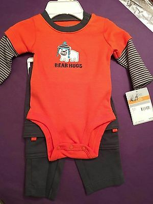 "NWT CARTER/'S BOYS 2PC /""BORN TO BE AWESOME/"" ORANGE KNIT TOP /& PANTS SIZE 24M"