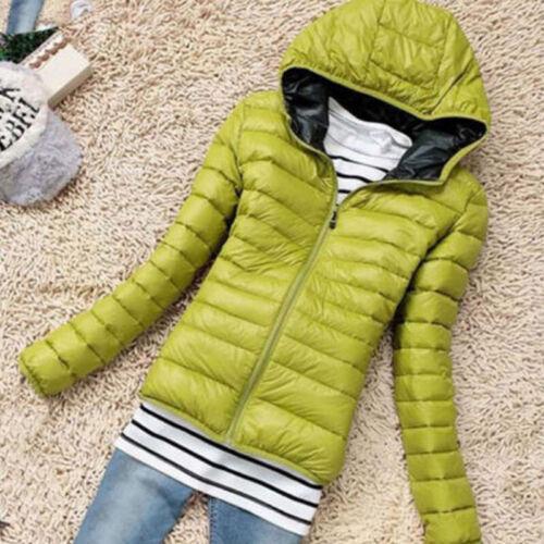 Winter Damen Warme Kapuzenjacke Zipper Trench Jacket Outdoor Mantel Einfarbig