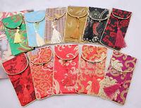 Wholesale10pcs Chinese Handmade Vintage Silk Glasses Bag &Phone Pouch Purse