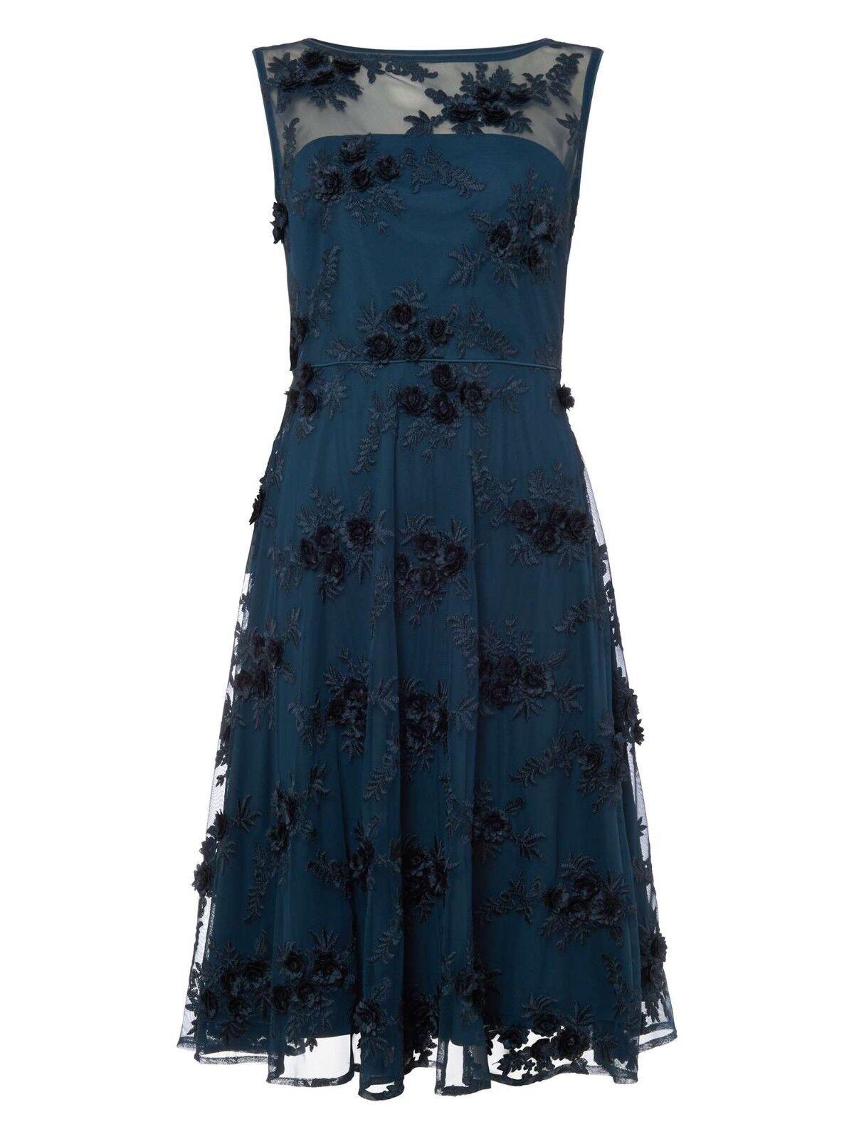 New Phase Eight Petrol Deidra Embroiderot Dress Sz UK 10 rrp