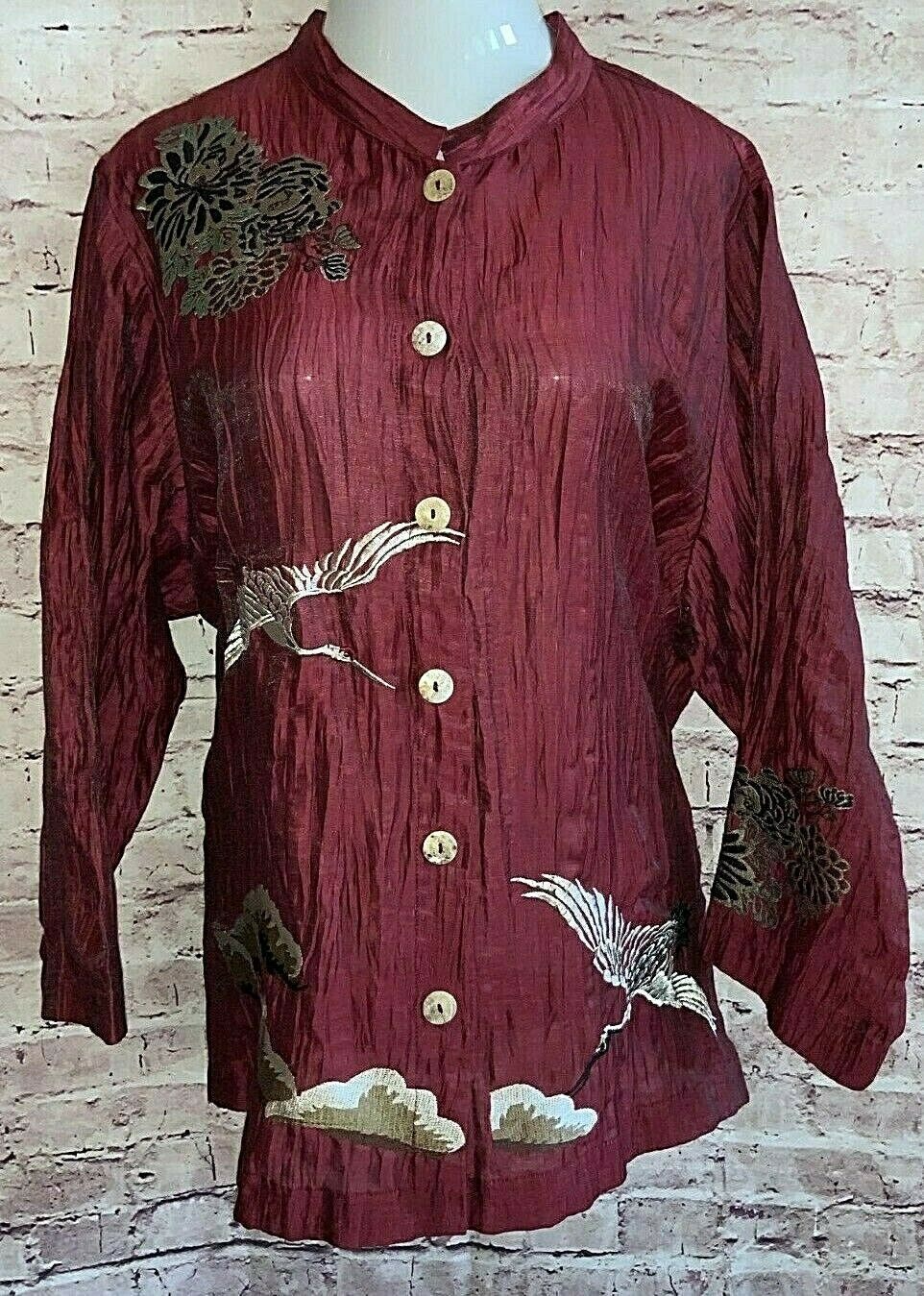 CITRON SANTA MONICA BURGUNDY EMBROIDERED LINEN BLEND ARTSY TUNIC WOMANS PLUS 3X