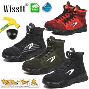 Mens-Work-Safety-Shoes-Steel-Toe-High-Top-Ankle-Boots-Indestructible-Breathable