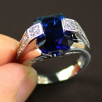 Mens Jewelry Silver Square Sapphire Band Ring NOT Tarnish Free Shipping