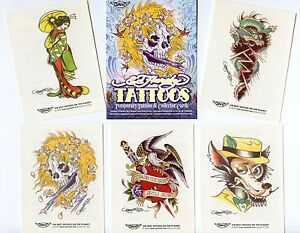 Ed hardy Temporary Tattoos, 5 Disposable Tattoos +5 Trading Cards ...