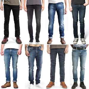 Nudie-Herren-Slim-Fit-Stretch-Jeans-Hose-Thin-Finn-Blau-Schwarz-B-Ware-NEU