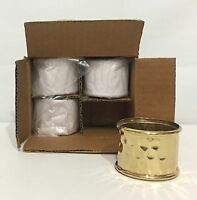 Pottery Barn Hammered Old Toned Napkin Ring Set Of 4, In Box