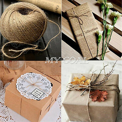 100M Roll Hessian Rustic Burlap Twisted Jute Twine String Hanging Wedding Decor