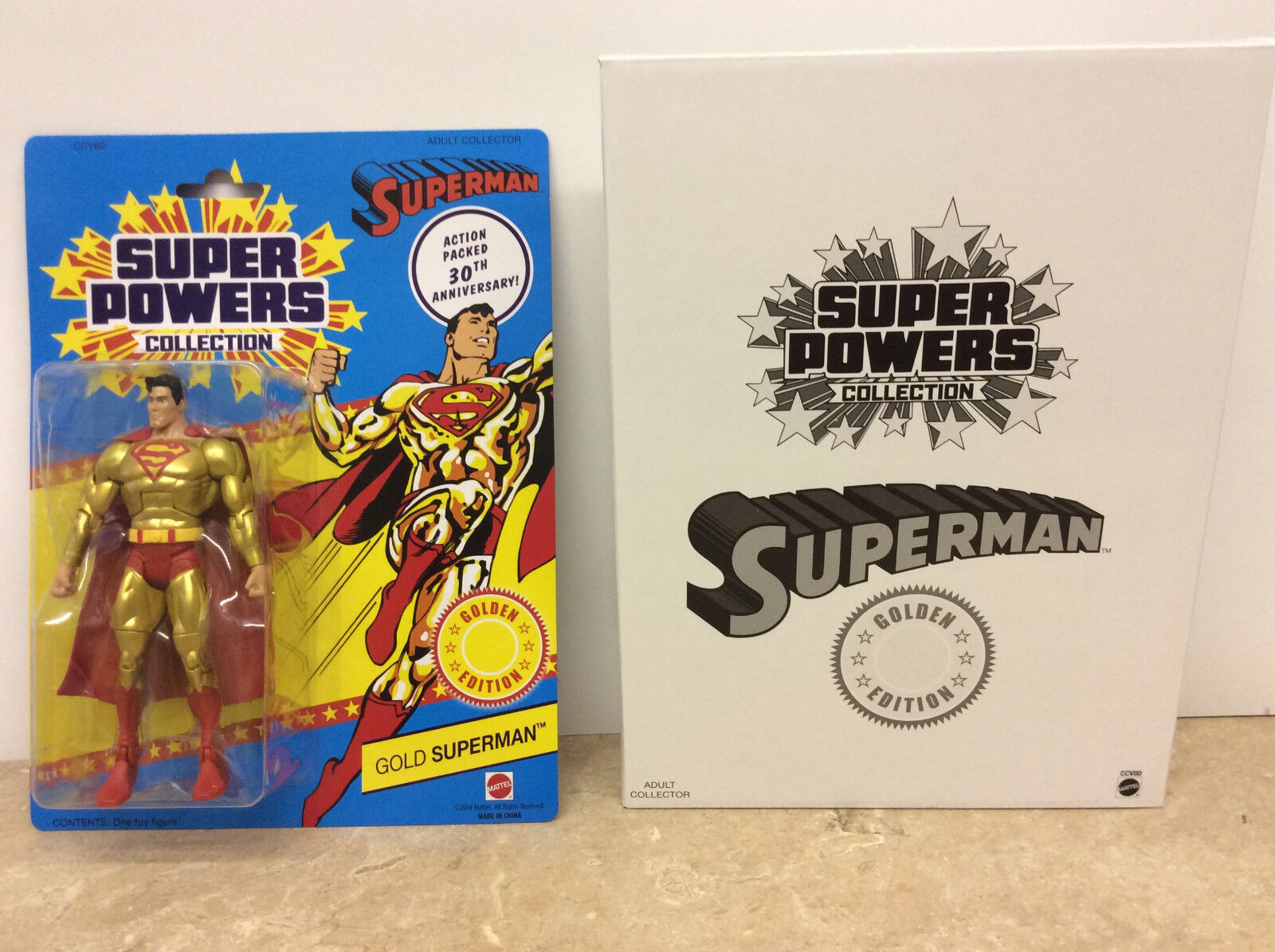 New In Box Super Powers Collection Matty Mattel SUPERMAN goldEN EDITION FIGURE