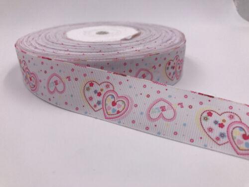 DIY 5 Yard 1/'/'25MM LOVE Printed Grosgrain Ribbon Hair Bow Sewing Crafts Ribbon