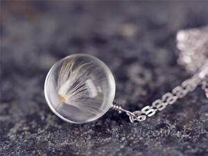 Silberkette-mit-Anhaenger-Pusteblume-Echt-Loewenzahn-Glaskugel-Halskette-Damen