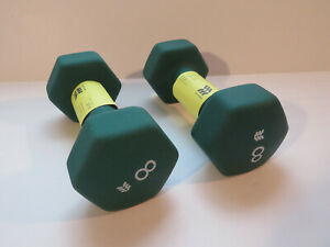 Pair 5lbs Neoprene Dumbbells Hand Weights All In Motion Green Set Fast Ship