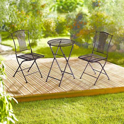 Gartenmöbel Set 2x Stuhl 1x runder Tisch Metall braun Sitzgruppe Gartenset