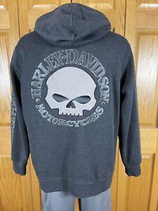 Harley-Davidson Men's Full Zip Hooded Sweatshirt Dark Gray Skull Size M