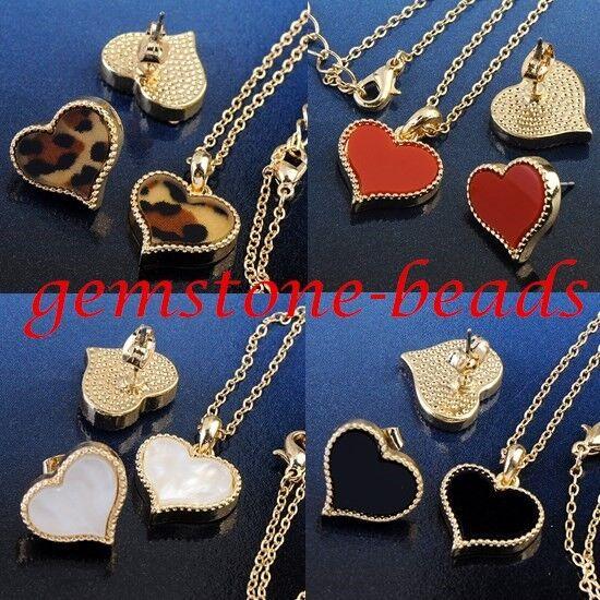 Korean Leopard Love Heart Acrylic Pendant Golden Necklace Earrings Jewelry Set