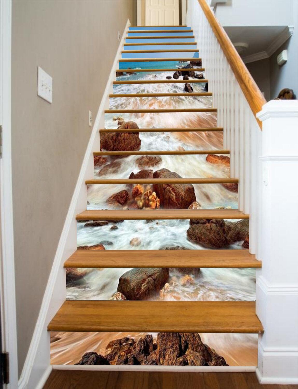 3D Sea stone 3667 Stair Risers Decoration Photo Mural Vinyl Decal Wallpaper UK