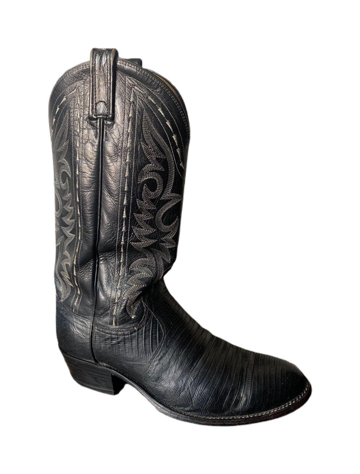 Dan Post Boots Vintage Cowboy Boots Western Boots Teju Lizard Boots - Men's 8.5D