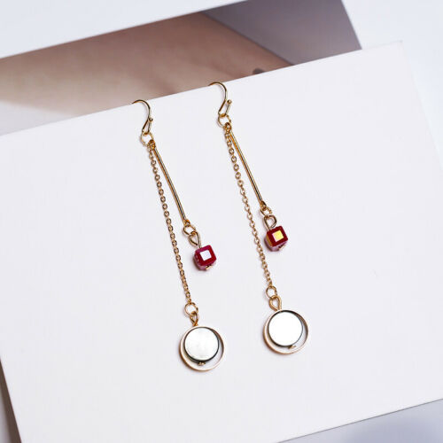 Fashion Jewelry Gold Plated Red Natural Crystal Stone Shell Dangly Drop Earrings